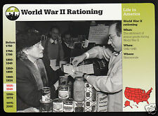 World War II Rationing Stamps Food Photo WW2 1996 GROLIER STORY OF AMERICA CARD
