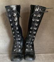 Vintage Japan Child Doll Fashion High Boots Black Leather Zip Children Size 11