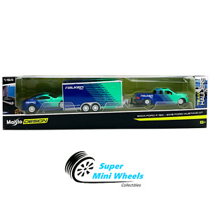 Maisto 1:64 Design 2015 Ford Mustang GT Falken with Ford F-150 Enclosed Trailer