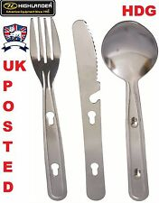 HIGHLANDER STAINLESS STEEL ARMY CAMP KFS KNIFE FORK SPOON SET FISH CADET TA SAS