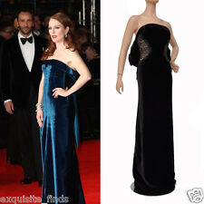 NEW TOM FORD BLACK VELVET and LACE EVENING DRESS GOWN as seen on Julianne