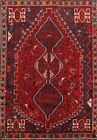 Tribal Geometric SEMI ANTIQUE Abadeh Area Rug Wool Oriental Hand-Knotted 5x8 RED