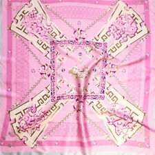 PURE SILK SATIN 90cm Large Square Scarf Head Neck Hair Wrap Pink Bandana Shawl