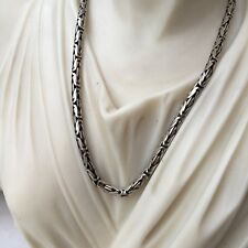 925 Sterling Silver Men King Byzantine Oxide Chain Necklaces 3mm 35GR 24Inch