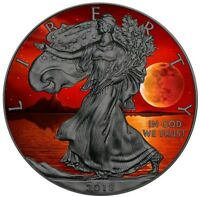 2018 1 Oz Silver $1 US BLOOD MOON EAGLE Ruthenium Coin.