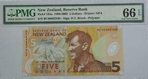 1999 New Zealand 5 Dollars PMG66 EPQ GEM UNC @P-185a@First Year of 'Polymer'