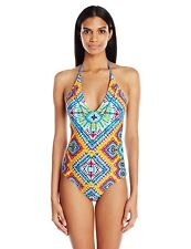 9452-2 Jessica Simpson Surfside TyeDye Lace Back Maillot 1Piece Swimsuit, S $104