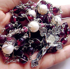 "BEAUTIFUL 925 Silver 2"" Cross & Sterling Silver Beads Garnet ROSARY NECKLACE BOX"