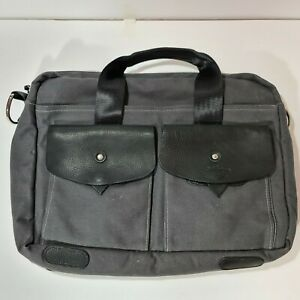 Bill Amberg Messenger Bag Black Leather and Textile Made in England