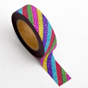 Gift Wrapping Washi Tape Self Adhesive 15mm 10mtr Xmas Glitter Foil Craft