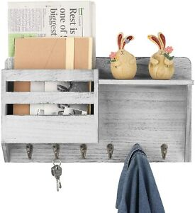 Mail and Key Holder Wall Mounted Wooden Mail Sorter Organizer with 6 Key Hooks