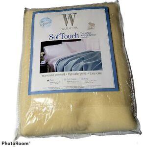 Vintage Wamsutta Softouch Ivory 100% Nylon Hypoallergenic Twin Blanket 66X90