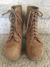 Jeffrey Campbell Lita Brown Tan Taupe Leather Lace Up Boots Booties 9.5 M VGUC