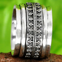Spinner Sterling Silver 925 Ring Genuine Ethnic Wide Band Handmade Size 5.5 7