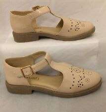 nude mary jane shoes Size 5 Patent Shiny T-bar Casual Work Formal