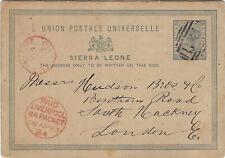 Sierra Leone:1883 Three Halfpence Postal Card H &G2 used to Uk-Liverpool Packet