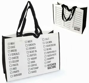 Heavy Duty Grocery Bag Reusable Foldable Double Handles Big Washable Extra Large