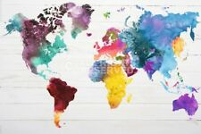 (LAMINATED) WORLD MAP IN WATERCOLOUR POSTER (91x61cm)  NEW WALL ART WATERCOLOR