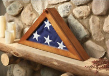 American Flag Display Case US USA Folded Casket Wooden Funeral Triangle Burial