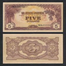 1942 MALAYA WWII JIM 5 DOLLARS MB 452290 P-M6a gVF