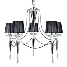 Duchess 5 Light Black Chrome Ceiling Pendant Fitting With Black String Shades