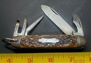 CAMILLUS CUTLERY CO CAMILLUS NY BONE HANDLE BOYSCOUT POCKET KNIFE SCOUT KNIFE!