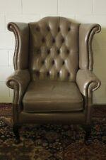 Poltrona chesterfield chester bergere queen anne inglese pelle grigio tortora