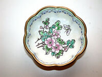 Beautiful Antique Chinese Canton Famille Rose Floral Round Enamel On Brass Dish