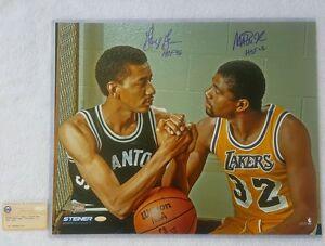 "NBA Legends Magic Johnson/George Gervin Dual Signed 16x20 Photo w/ ""HOF"" Insc."