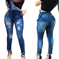 Women's Ripped Denim Jeans Jumpsuit Overall Dungaree Casual Pants Playsuits USA