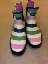 Joules Wellibob Short Height Wellies White- pink/green/blue stripes UK 8 VGC