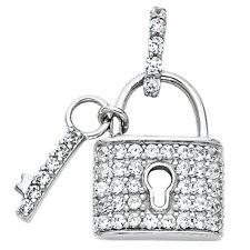 "14K White Gold 0.45 Ct. Diamond Pave Lock Key Pendant Charm  7/8"" 2.1 gr"