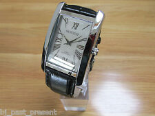 MENS MONTINE WATCH SILVER RECTANGULAR DIAL ROMAN NUMERALS BLACK LEATHER STRAP