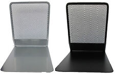 Pair Of Heavy Duty Metal Mesh Black & Silver Bookends Book Ends