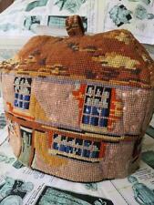 Humorística antigua victoriana Antique Victorian woolwork Tapiz cubre Tetera-Dickens curiosidad Shop