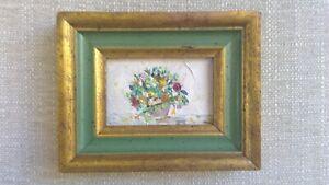 Antique Original MINIATURE Framed OIL Painting  Floral STILL LIFE