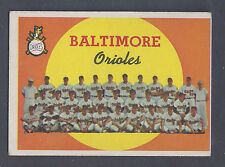 1959 Topps #48 Baltimore Orioles Team Card EX Plus (OC) - Marked