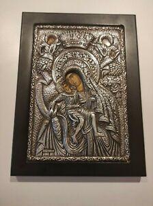 Greek Byzantine Icon Holy Virgin Mary & Christ Child Silver 950