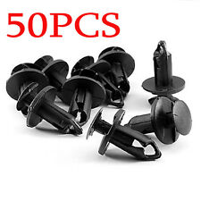 50pc Auto SUV Car 9 mm Bumper Fender Retainer Push Black Plastic Clips Fasteners
