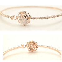 Women Simple Trendy Rhinestone Camellia Rose Gold Bangle Bracelet Jewelry