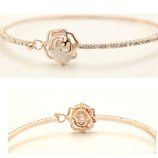 Beautiful  Women Fashion Rhinestone Camellia Rose Gold Bangle Bracelet Jewelry