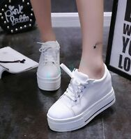 College Womens Canvas Lace Up Wedge Hidden HIgh Heels Platform Sneakers Shoes