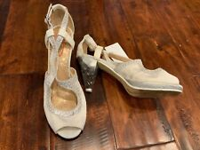 "Poetic License ""Oldie But Goodie"" White & Silver Heels, Size 38.5 (EUR) 7.5 (US)"