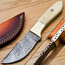 "Skinner Knife 8.0"" Camel Bone Handle & beautiful Damascus Blade"