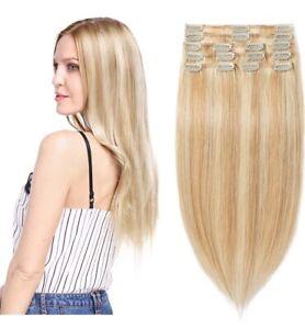 "100% Remy Human Hair Extensions Full Head Clip 8 Pieces  22"" Bleach/Ash Blonde"