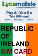 NEW. Lycamobile IRISH, PREPAID SIM card. NANO, MICRO or STANDARD size. Ireland.