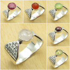 SELECT YOUR SIZE, 925 Silver Plated Real ROSE QUARTZ & Other Many Gemstone Ring