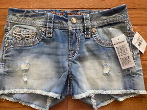 """$180 Rock Revival Jeans """"Jelina"""" Swarovski Crystal Leather Inserts Shorts Sz 26"""