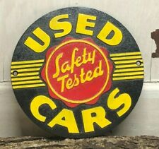 "~Used Cars Safety Tested ~Heavy Cast Iron Round Sign 9"" ~  Automotive Garage"