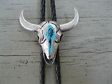 BOLO TIE #86 - Pewter Steer Head with Turquoise Enamel